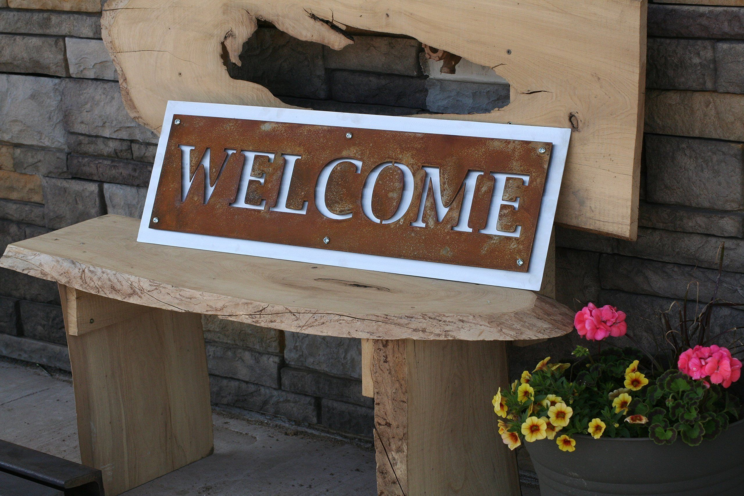 Rustic Two-Tone Metal Welcome Sign, Horizontal Hanging Welcome Sign ...