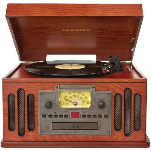 Vintage-inspired  Analog Am and fm Radio Programmable CD Player cassette Deck 3-speed Turntable Crafted Of Hardwoods & Veneers Portable Audio Ready Paprika Finish.!