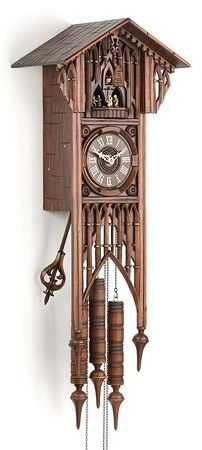 Gothic Long Case Cuckoo Clock, Animated Dancers, Musical, Model #8366     A stunning piece, this beautiful large cuckoo clock is an impressive addition to any room. This clock is modeled after European cathedrals of the 12th-16th Centuries.