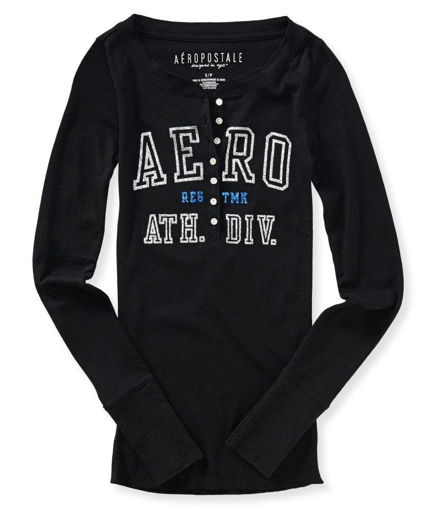 Aeropostale Womens A?Ropostale Henley Shirt