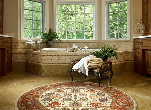 A Large Bathroom Is The Perfect Place To Fit Round Rug It S Also