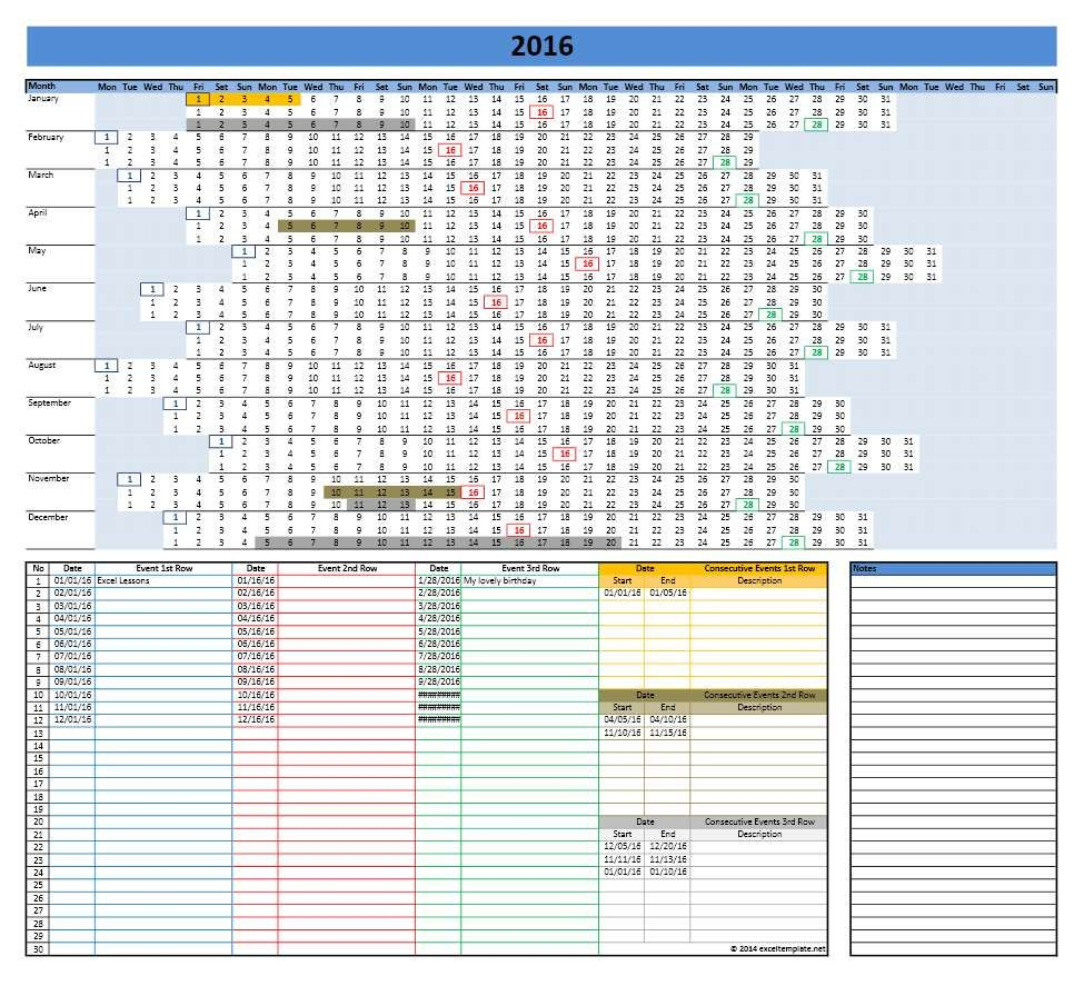 Linear Calendar  Excel Template  It    Template