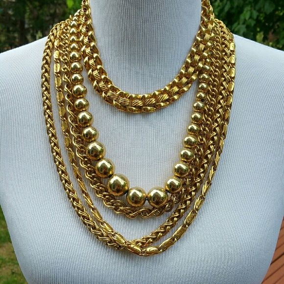 5 retro gold necklaces Ball necklace Gold necklaces and Monet jewelry