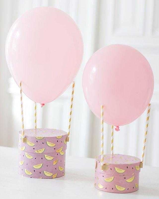 So: Drei Strohhalme, Ein Luftballon   Ein Heißluftballon! Eine Fix  Gebastelte Geschenkverpackung Zum