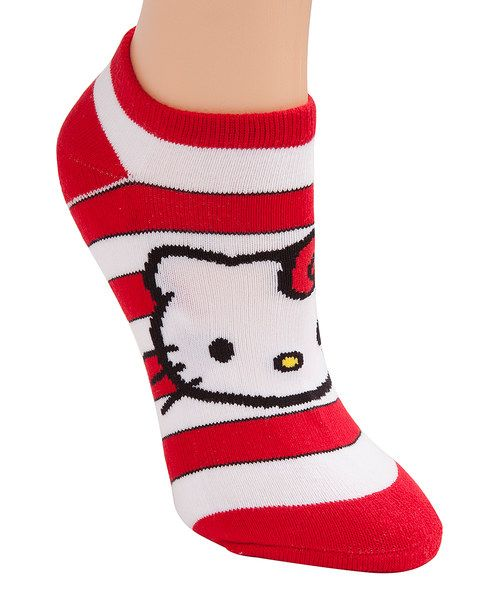 e9ab46210 Look at this Red Hello Kitty Stripe Socks - Women on #zulily today ...