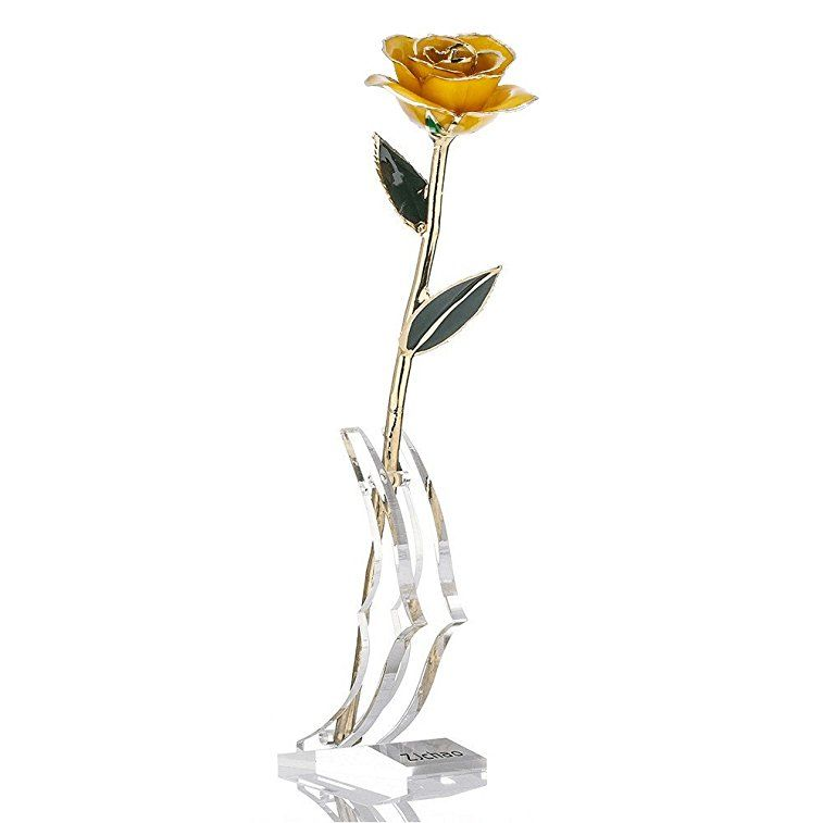 Best for Mom 24K Gold Rose Long Stem Real Rose Dipped in Gold with Gift Box