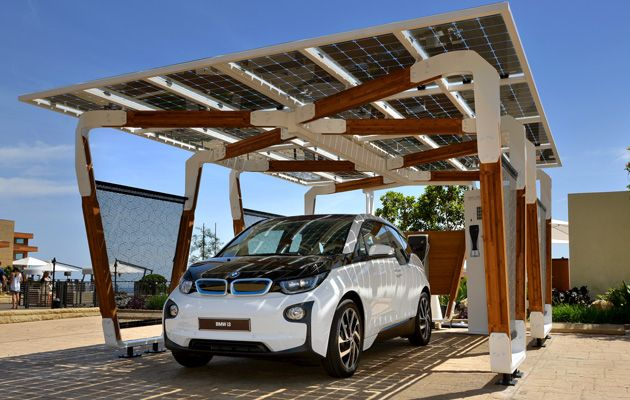 Bmw S Designed An Eco Friendly Carport For Its Electric Vehicles Solar Charging Station Solar Pergola Carport