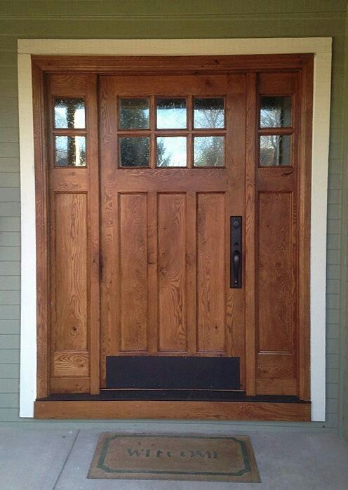 Simple Front Door Can T Really See Out Though Then People Can T See In Either But We Live Craftsman Front Doors Craftsman Style Doors Rustic Front Door