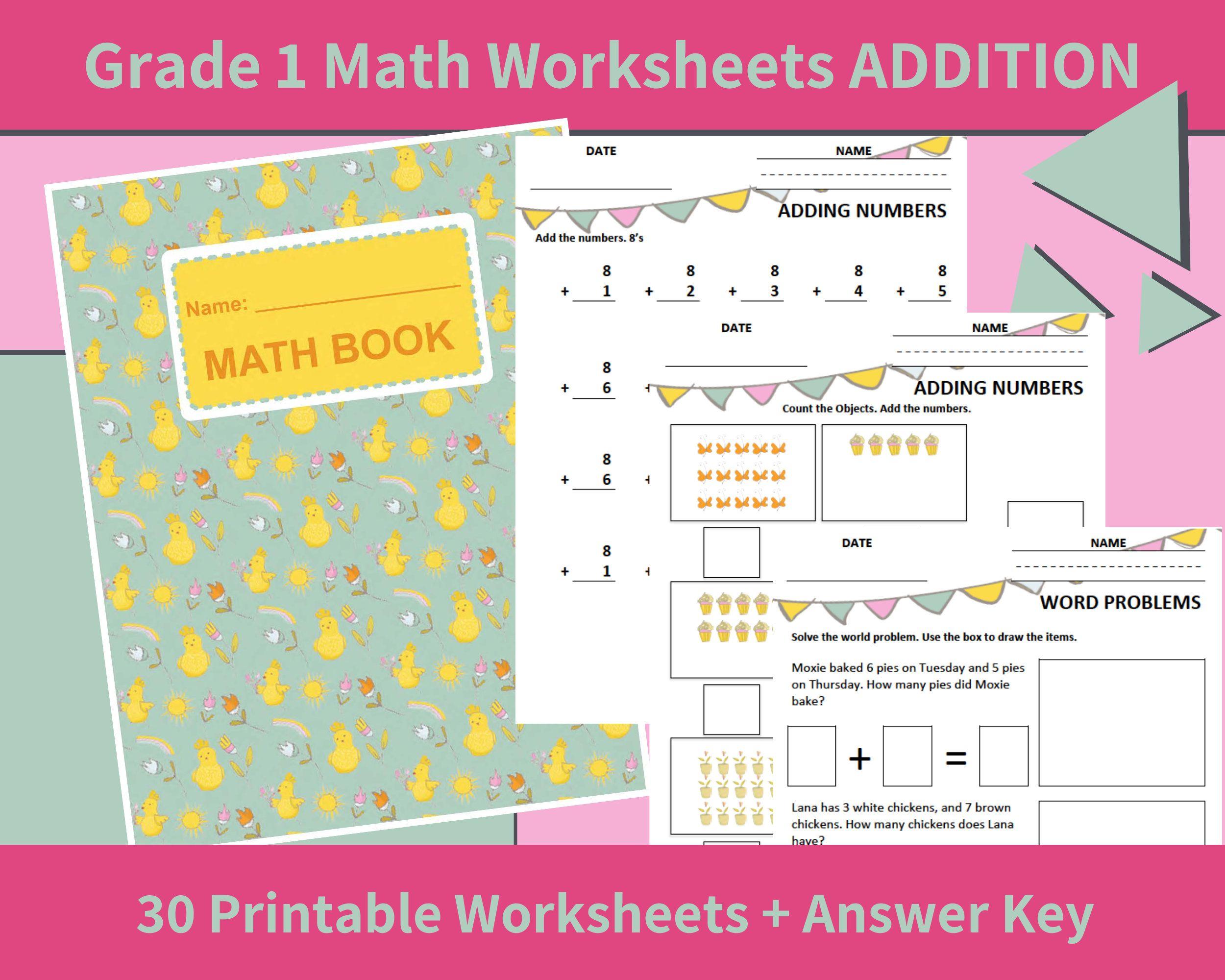 Worksheets For 1st Grade Math Grade 1 Math Worksheets Etsy 1st Grade Math Worksheets 1st Grade Math Math Workbook [ 2000 x 2500 Pixel ]