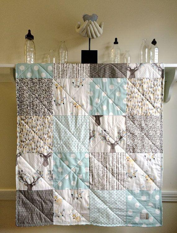 Blue Baby Quilt Woodland, Modern Quilt, Rustic Quilt, Aqua