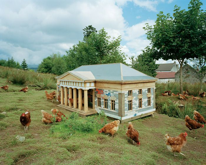 Simon Starling, Burn Time, 2000, Hen house, brick stove, eggs, egg cookers, cooking pot, saw, tarpaulin