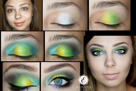 Beautiful #colorful #Summer Pictorial. #eyemakeup #greenshadow - bellashoot.com