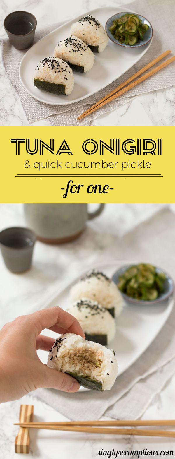 Tuna Onigiri With Quick Cucumber Pickle Singly Scrumptious Recipe Diy Food Recipes Diy Easy Recipes Recipes