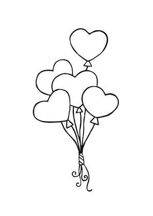 ausmalbild luftballon herzen | luftballons, hochzeit zeichnung, ausmalbilder hochzeit