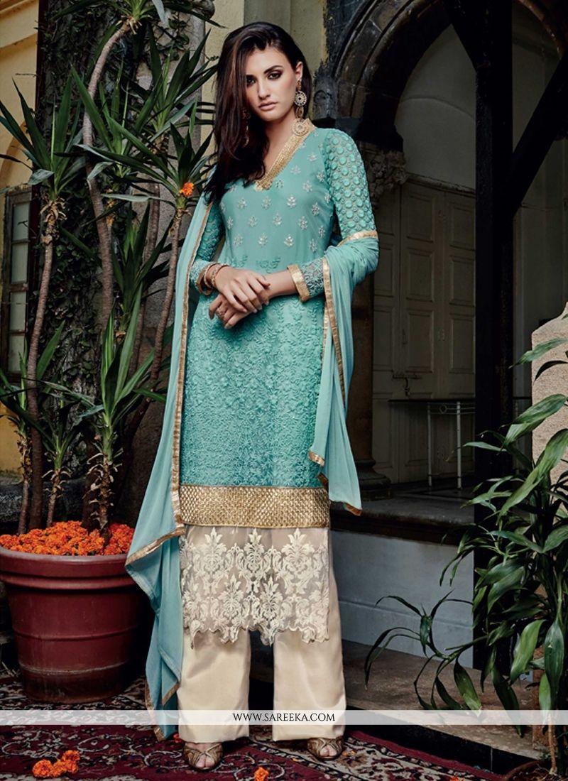 Lace Work Net Turquoise Designer Pakistani Suit | Pakistani suits ...