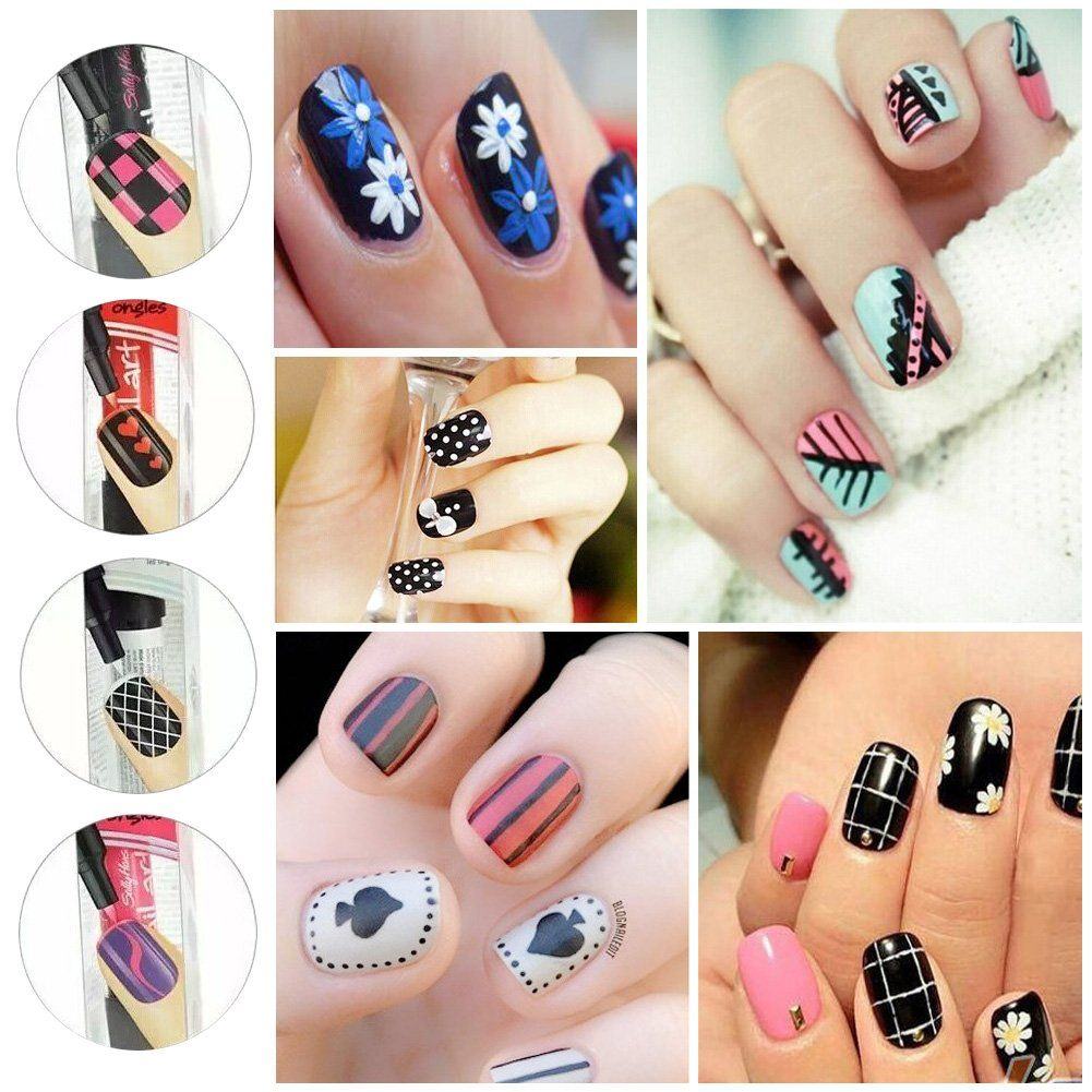 16 Colors Set Nail Art Pen MEIWO 3D Nail Art DIY Decoration Nail ...