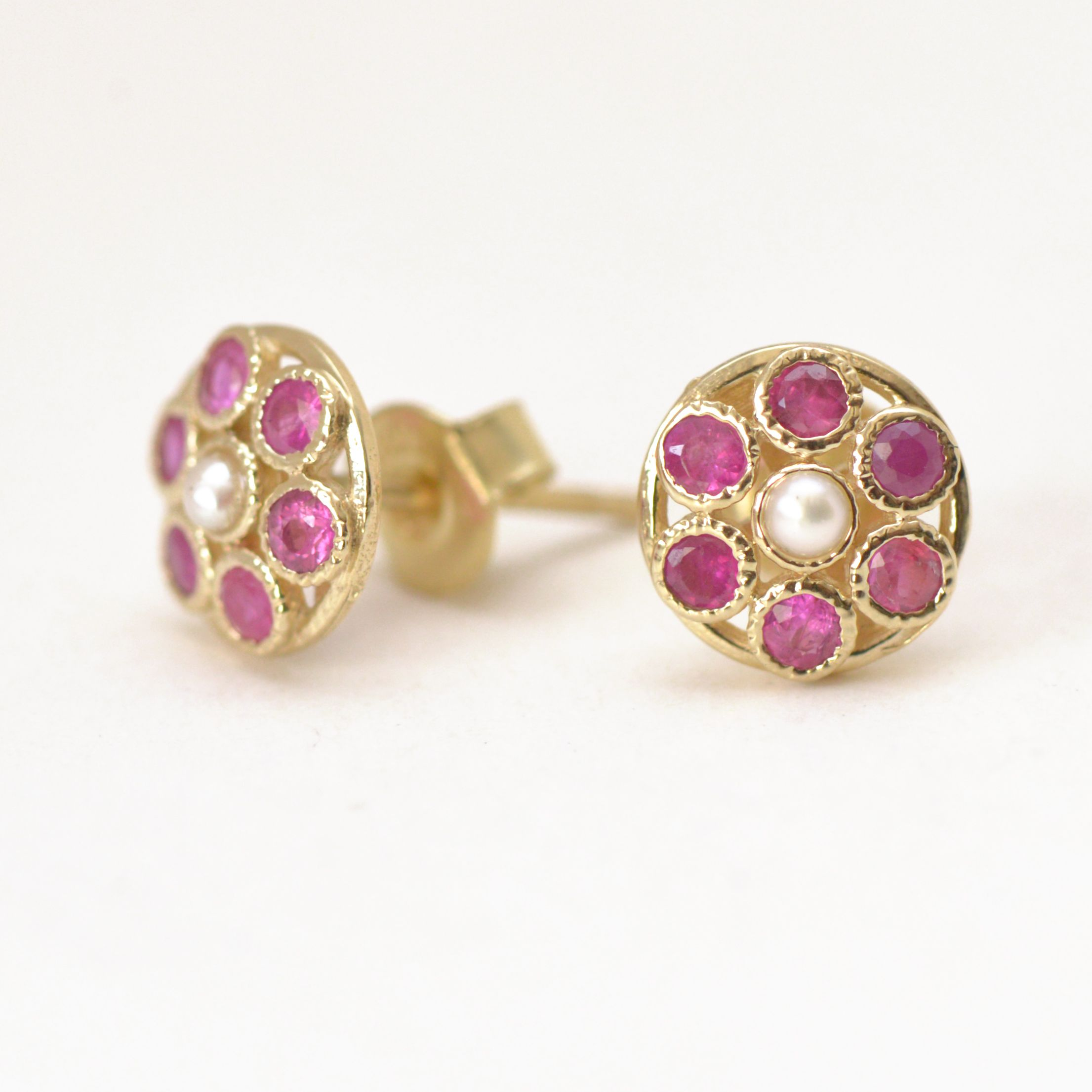 studs hammered earrings products earring ruby donut stud danabronfman