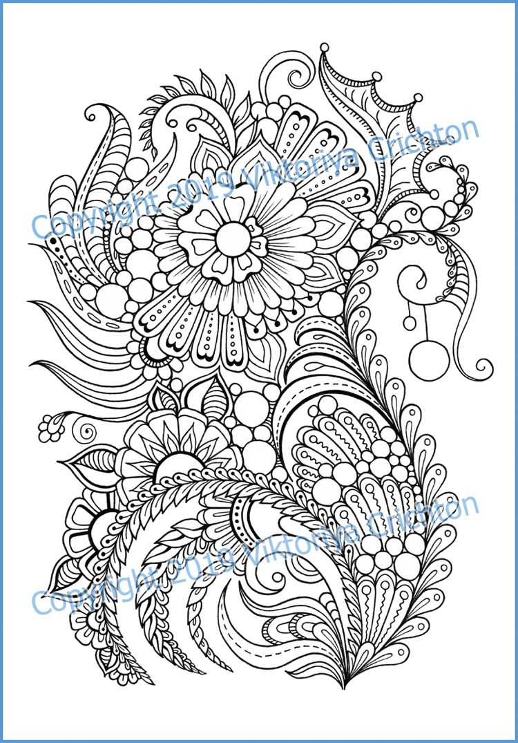 This Item Is Unavailable Etsy In 2021 Coloring Pages Flower Doodles Zentangle Flowers