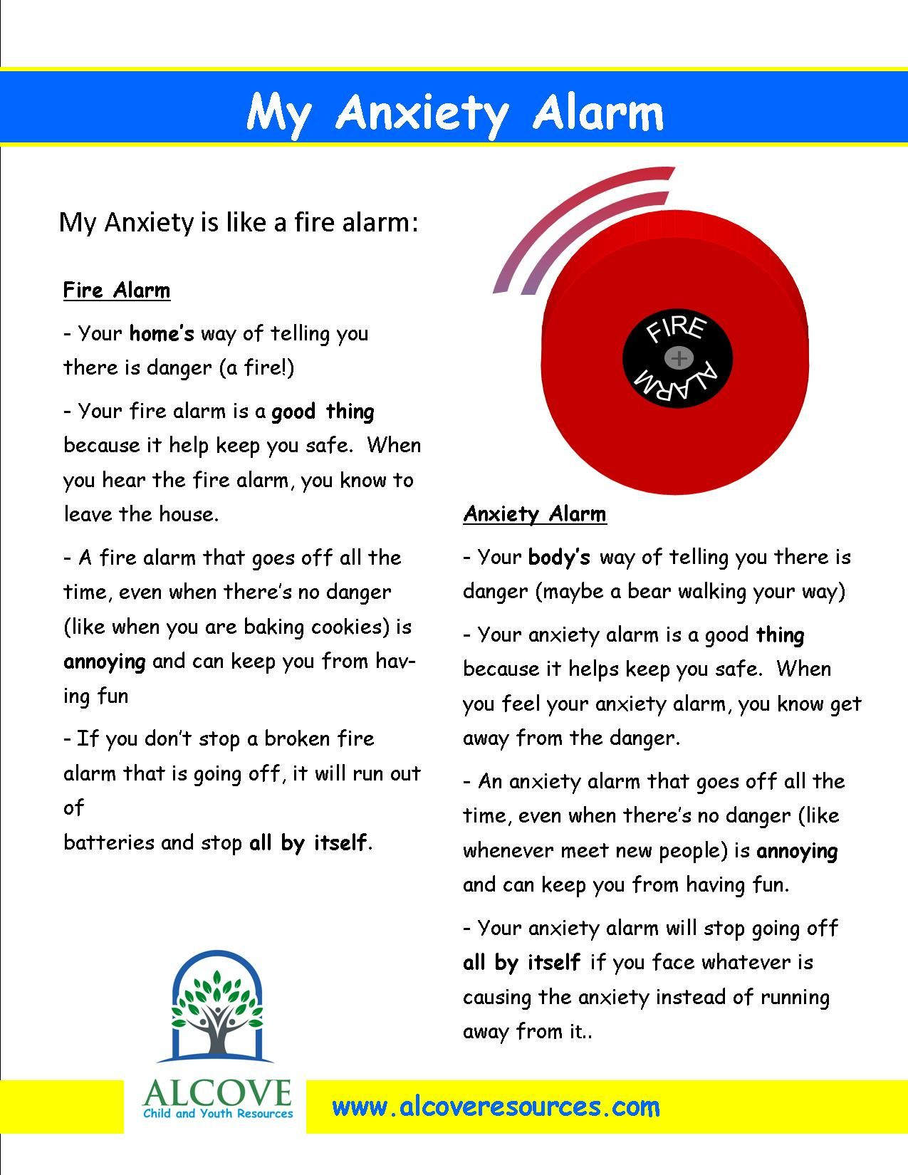 worksheet Therapy Worksheets For Kids my anxiety alarm worksheet for kids alcove child and youth resources