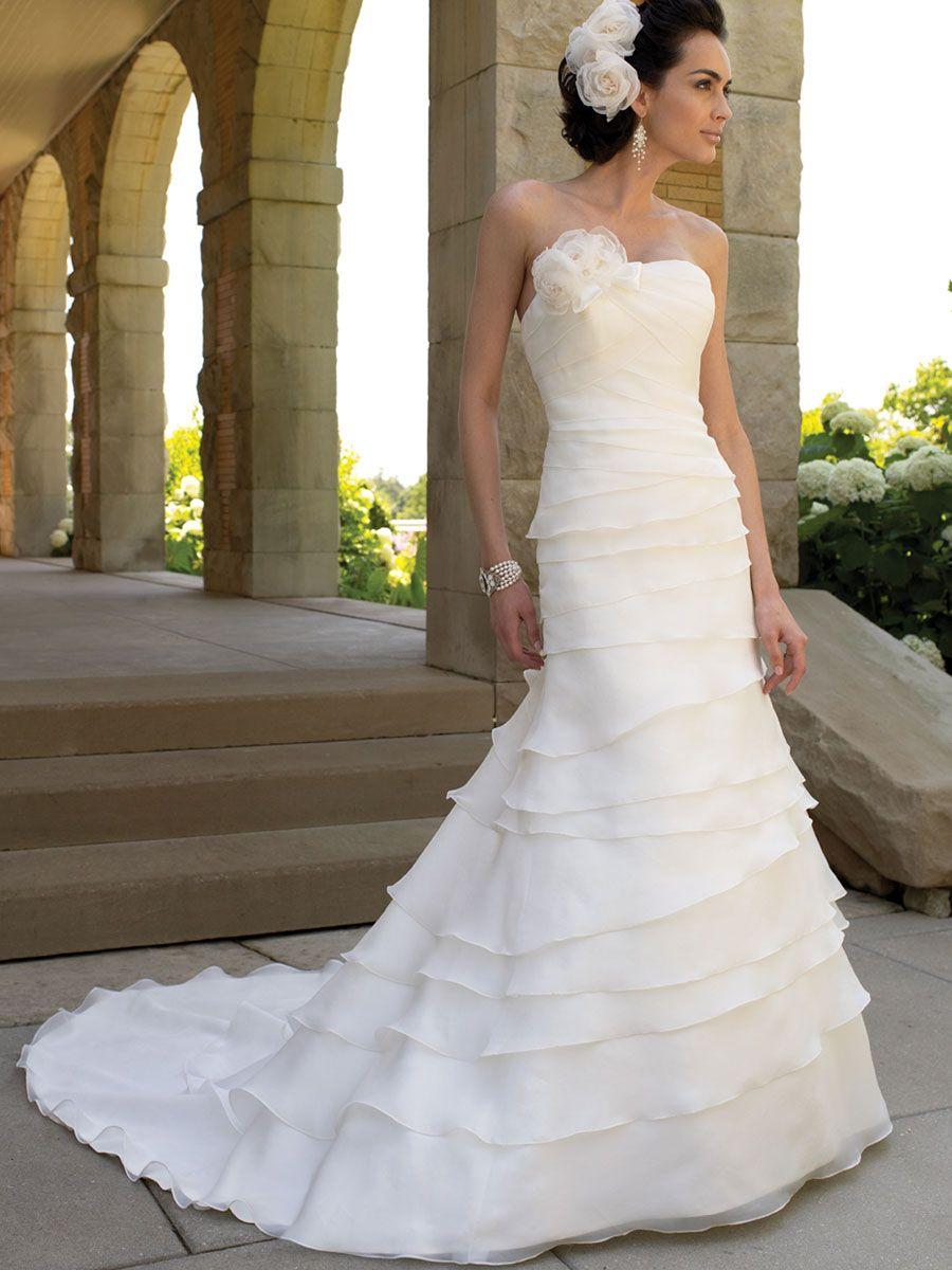 multi-layered organza slim a-line flower wedding dress. oh my god ...