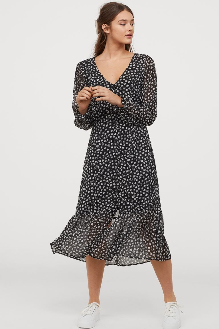 jurk met knoopsluiting - zwart/wit bloemen - dames | h&m nl