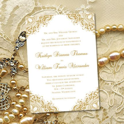 gold vintage wedding invitations or 50th by weddingtemplates - 50th Wedding Invitations