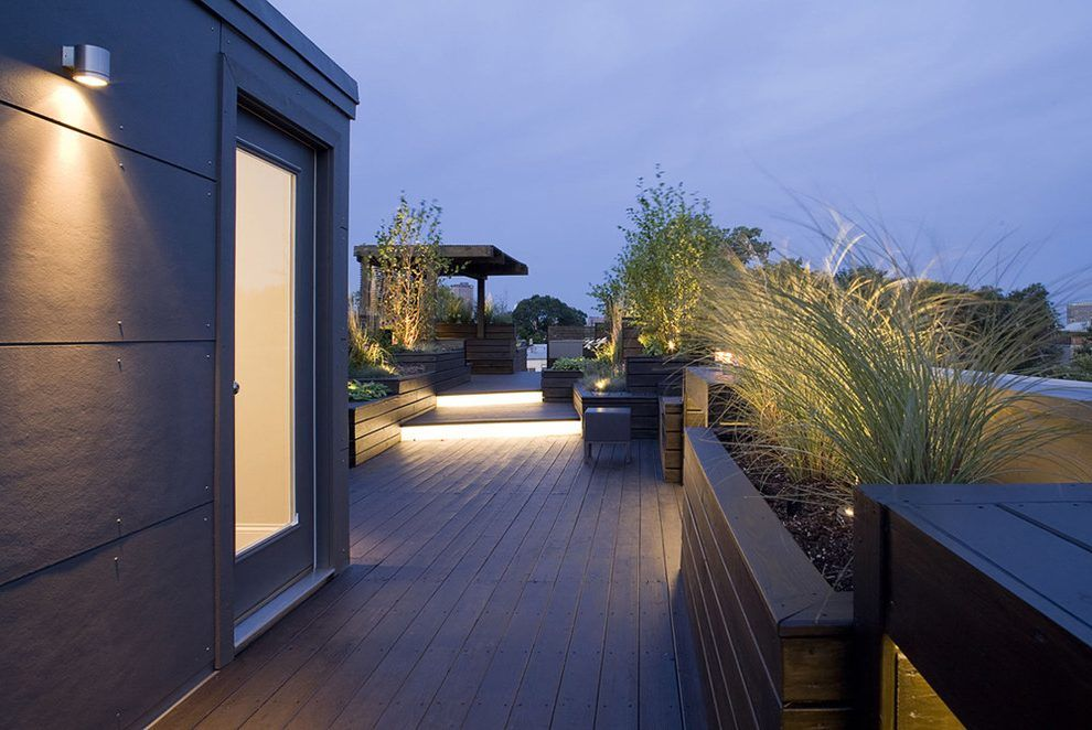 Rooftop Lighting Deck Contemporary With Roof Outdoor Wall
