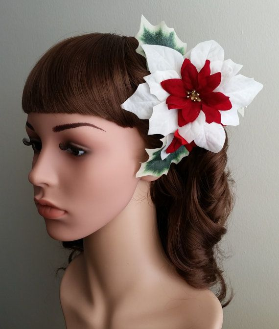 Holiday Poinsettia Flower Hair Clip White And Red Etsy Flowers In Hair Flower Hair Clips Hair Clips