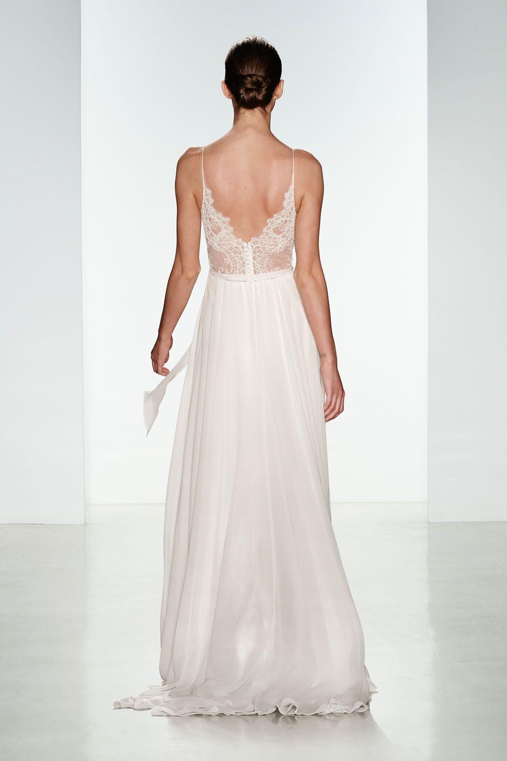 Tinsley by Christos Bridal. Silk chiffon wedding gown with sheer ...