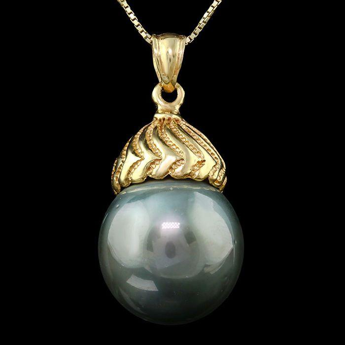 Maison d'enchères en ligne Catawiki: 14kt gold pendant set with Tahitian black pearl 15 x 15.3 mm **no reserve price**