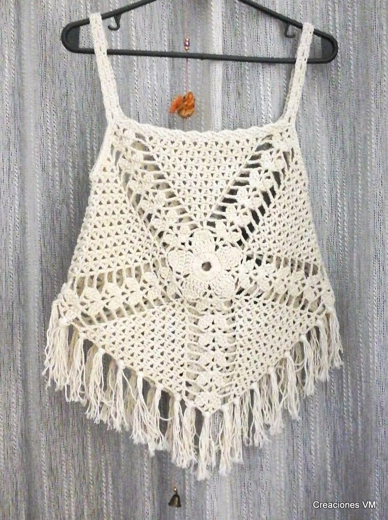 Top A Crochet Con Flecos. Playa, Verano. A Pedido. - $ 400,00 en ...