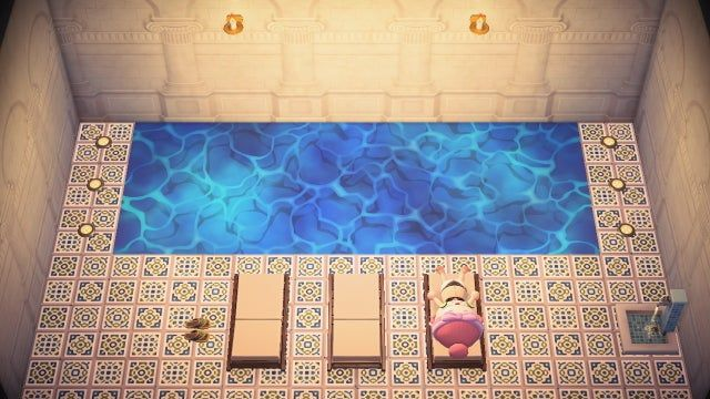 Diy Blue Summer Shell Water Flooring Inside Pool Wanted To Share My Basement Animalcrossing In 2020 Animal Crossing Inside Pool Animal Crossing Game