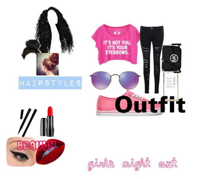 """""""Girls Night Out"""" by zombie-hunter05 ❤ liked on Polyvore featuring Glamorous, Ray-Ban, Lancôme, LORAC, Vans, River Island and MICHAEL Michael Kors"""