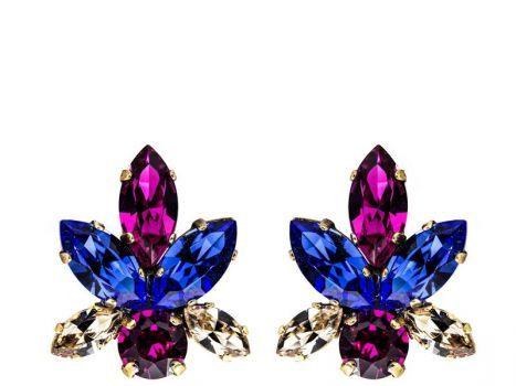 9ac9e579a50a pendientes de cristales swarovski azul y fucsia y dorado para fiestas  eventos bodas de legorburu en apparentia