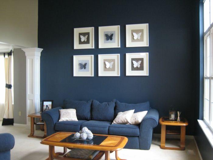 Blaues Sofa - 50 Einrichtungsideen mit Sofa in Blau, die sehenswert - wohnzimmer blau holz