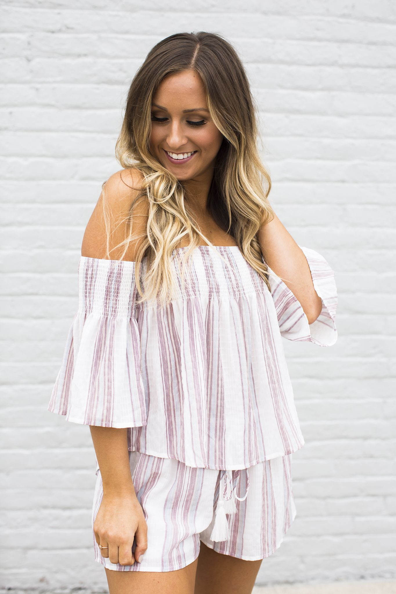 88eae87a623ef Striped Off The Shoulder Two Piece Set
