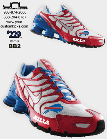 Custom Buffalo Bills Nike Turbo Shox Team Shoes – JNL Apparel ... 0b65101a9