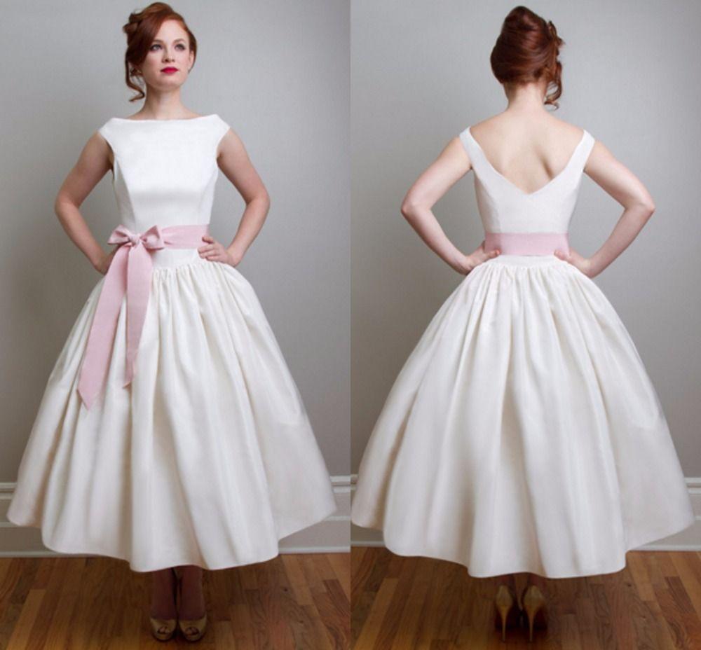 Vintage Pink Tea Length Wedding Dresses