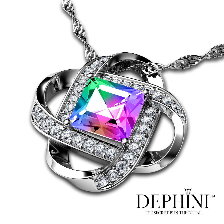 DEPHINI - Kette Damen - Wunderbar Swarovski mit Zirkonia herum - Rainbow Kristall  Anhänger mit Silberkette f95fa6778c