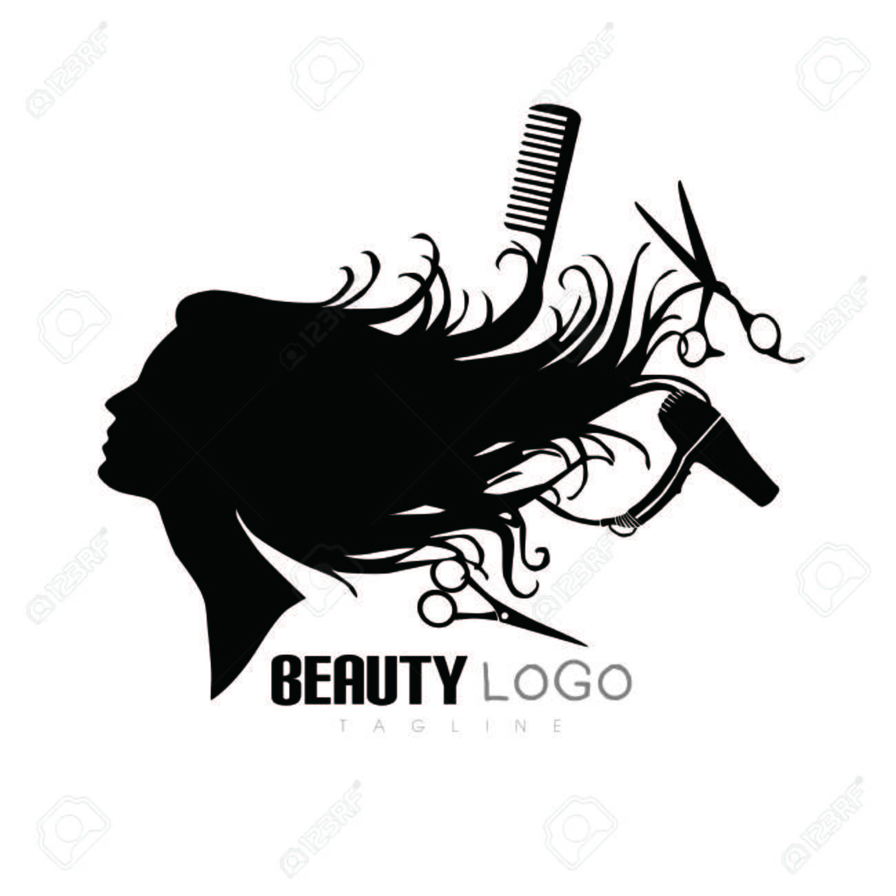 Stock Vector Hair Salon Logos Hair And Beauty Salon Salon Logo