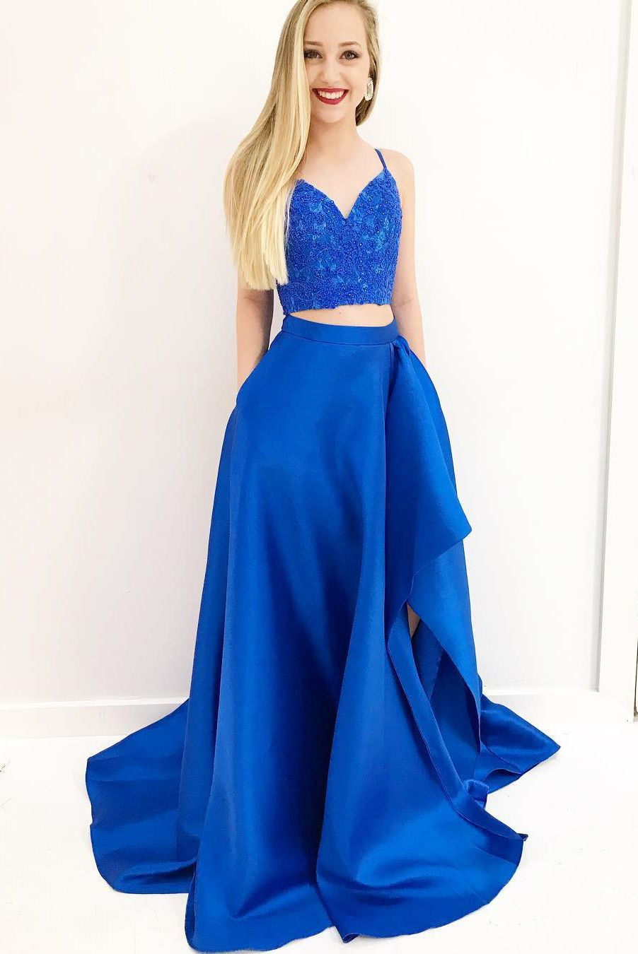 Gorgeous two piece royal blue long prom dress with side slit azul