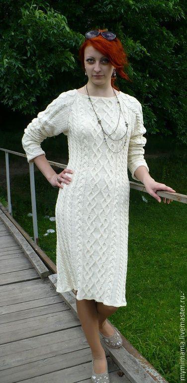 4bd090f6e4a Платья ручной работы. Ярмарка Мастеров - ручная работа. Купить платье  вязанное спицами косами и аранами. Handmade. Белый