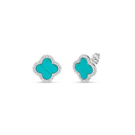 699fbee9eae89 Created Turquoise and CZ Sterling Silver Rhodium-Plated Flower Stud ...