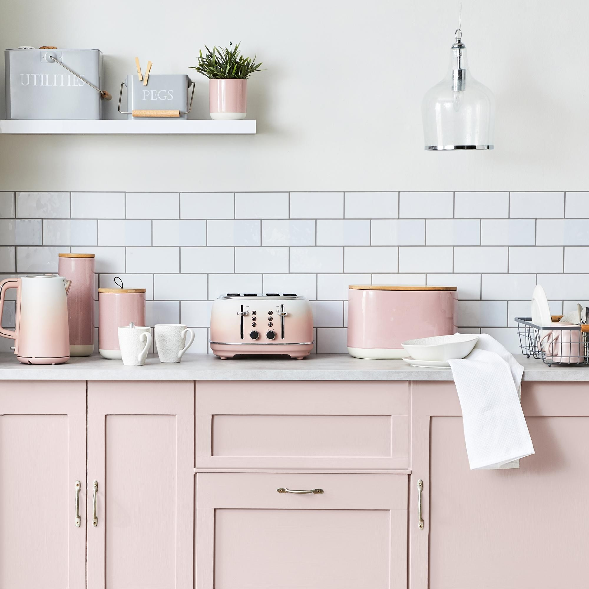 Blush Pink Small Kitchen Canister In 2020 Pink Toaster Medium