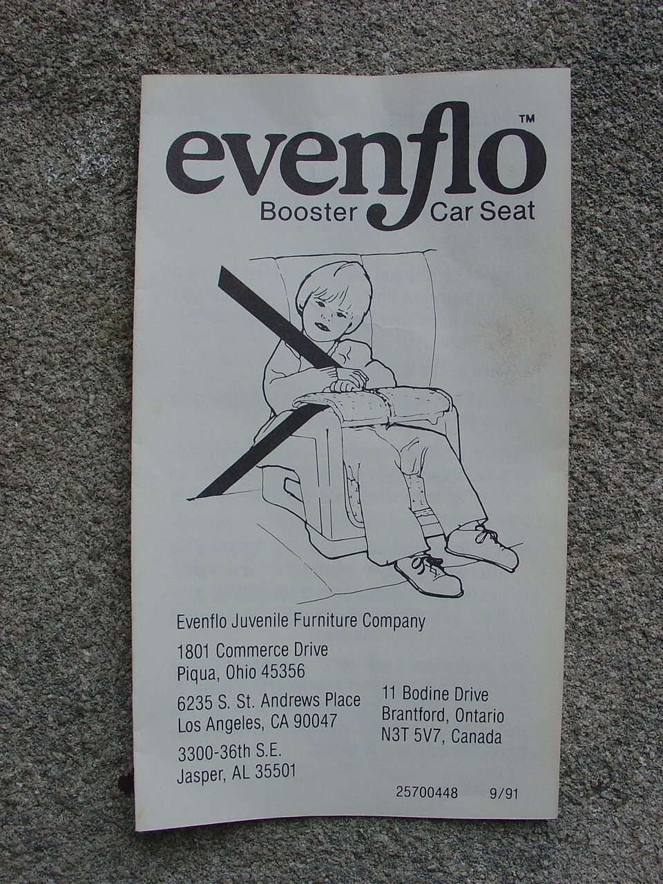 Evenflo booster instructions Child safety seat, Baby