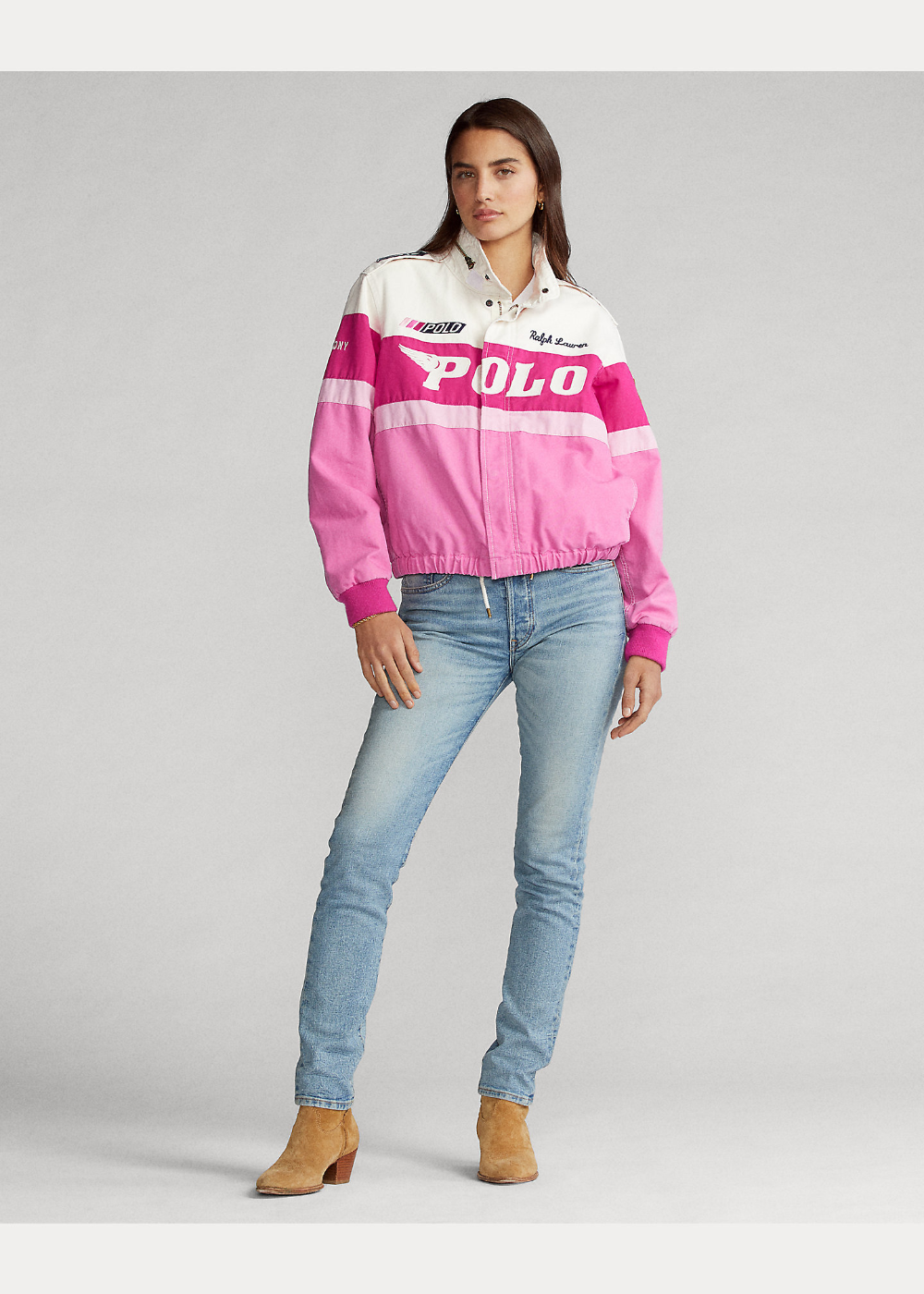 Pink Pony Cotton Canvas Bomber Jacket Pink Bomber Jacket Bomber Jacket Jackets [ 1400 x 1000 Pixel ]