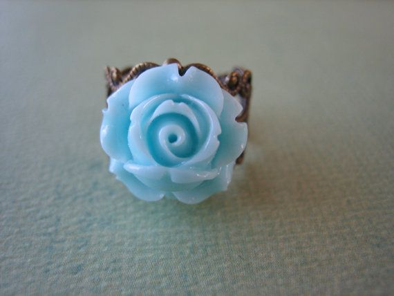 Petite Pale Blue Rose Flower Ring  Adjustable Antique by ZARDENIA, $9.00