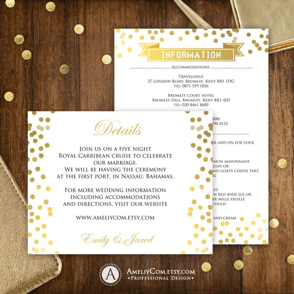 gold confetti printable information cards gold direction