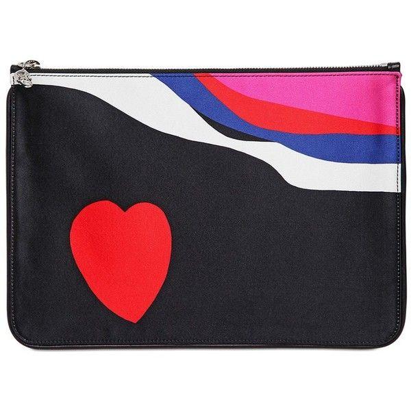 Alexander Mcqueen Women Heart Printed Silk Satin Pouch (£150) ❤ liked on Polyvore featuring bags, handbags, clutches, black, zip pouch, skull handbag, heart handbag, pouch handbags and skull clutches