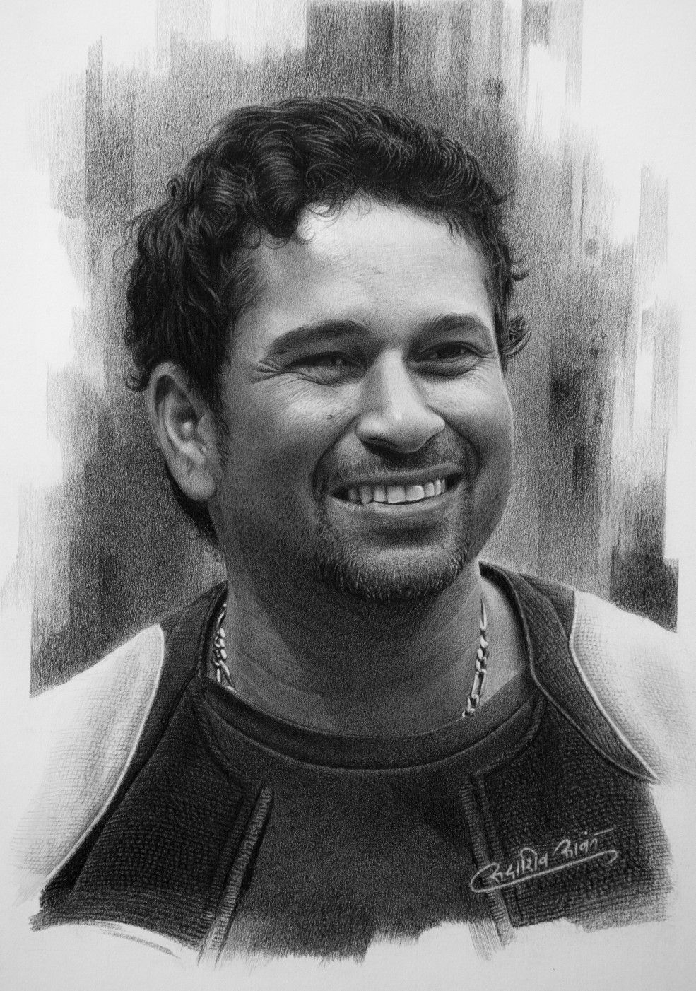 Pencil drawing of master blaster sachin tendulkar drawn for a book